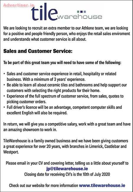 SALES AND CUSTOMER SERVICE, Situations Vacant